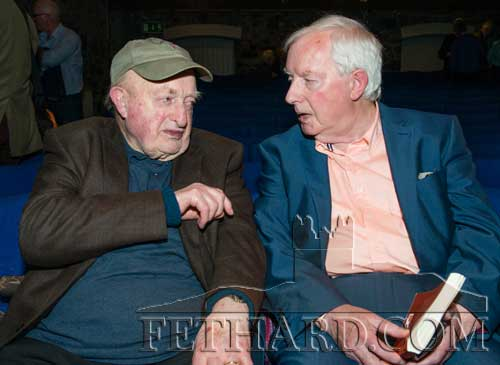 John Fogarty's last surviving uncle, Seamus Cooney from Carrick-on-Suir talking to Michael Coady (right) at the launch of 'Scenes from an Indian Summer'.
