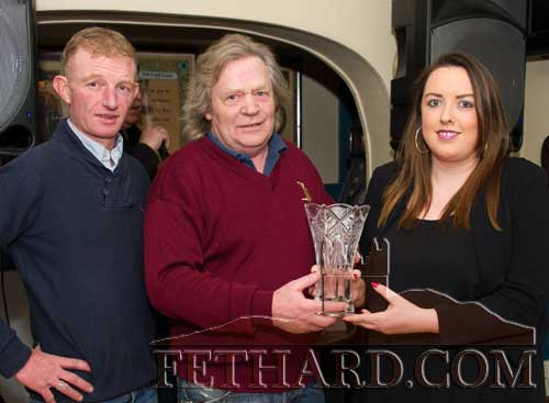Michael 'Mouse' Morris (centre), winner of the Butler's Bar Fethard Sports Achievement Award for December, receiving his award from Anne Marie Butler (sponsor). Also included is special sports guest, well-known retired amateur jockey, Jarleth 'Foxy' Connolly, who is now based in Ballydoyle Stables for the past 13 years.