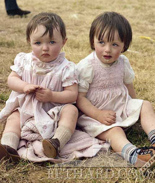 Twins Louise and Geraldine O'Donnell photographed at the Moyglass Field Day 1981