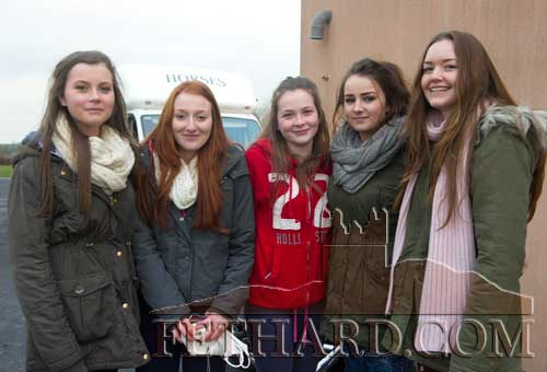 Moyglass United supporters photographed at the Youths Division 2 Cup played in Moyglass L to R: Becky McCarthy, Roisín Gleeson, Jessie McCarthy, Nicola Thompson and Theresa Lanigan.