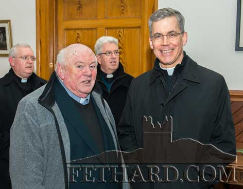 Photographed at the installation of our new bishop, Most Reverend Kieran O'Reilly SMA, are L to R: Fr. Martin Crean OSA, Augustinian Abbey, Fethard and His Excellency Archbishop Charles J Brown, Apostolic Nuncio to Ireland.