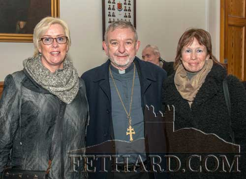 Bishop Kieran O'Reilly photographed with Fethard sisters Liz Kennedy (left) and Catherine Kearney.