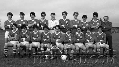 Fethard Minor Football Team South and County Champions 1985 Back L to R: Willie O'Meara, Fergus McCormack, Liam Ryan, Paul Hayes, David Kane, Brian Burke, Eddie Sheehan, Colm Kehoe, Chris Coen, Jimmy O'Shea (trainer). Front L to R: Andy O'Donovan, Michael Ryan, Willie Morrissey, Gerry Murphy, Dermot Hackett (captain), Johnny Connolly, Paul Mullins, Shay Ryan and Kevin Burke. Mascot in front is Colm Coen. Also on the team was Michael O'Riordan (Kerry Street), Eddie Sheehan, Tom McCarthy and Adrian Bradshaw.