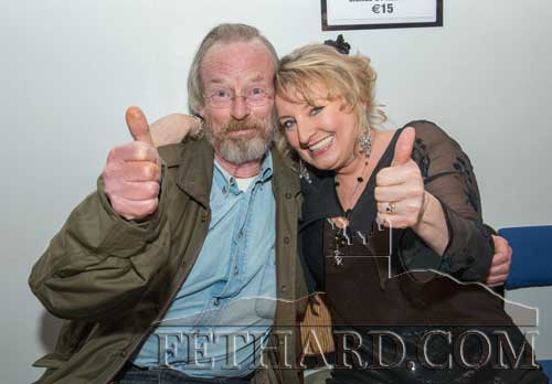 Ray O'Riordan, Clonmel, photographed with Rebecca Storm after her performance in the Abymill Theatre, Fethard, on January 10.