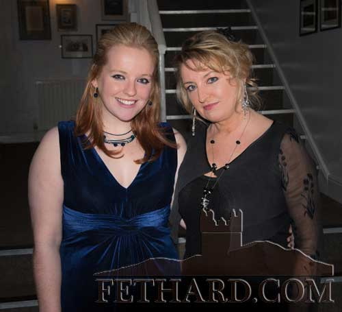 International star Rebecca Storm (right) photographed with Holly Jean Williamson after her performance in the Abymill Theatre on Saturday, January 10. Holly was invited to sing on stage during the performance.