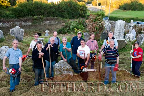Photographed at a previous clean-up of Redcity Cemetery by local Tullamaine residents assisted by members of Fethard Tidy Towns a few years ago are L to R: Seamus Barry, Martin Leahy, John Barry, Pat Burke, Kevin Shelly, Jimmy O'Shea, Michael Fitzpatrick, Joe Keane, John Slattery, Gus Smyth, John O'Connell and Noreen Sheehy.