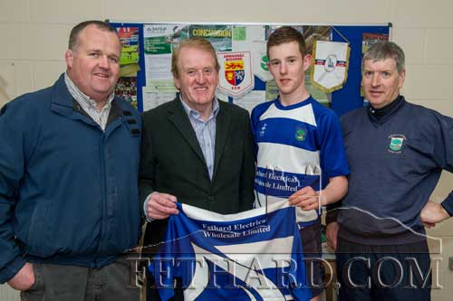 Don O'Connell presents a set of new jerseys for the Under 18 team at Fethard & District Rugby Club on behalf of Fethard Electrical Wholesale. Pictured are John Stokes, Don O'Connell, Paul Moloney, and Pat O'Donnell.