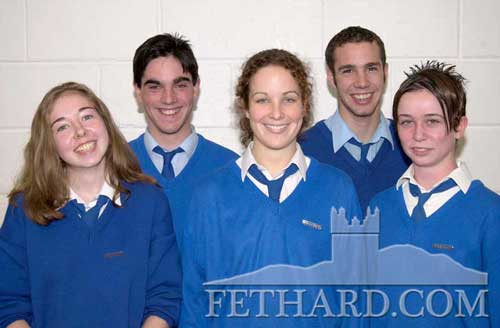 Fethard's First Prefects (September 2000) – Fethard Patrician Presentation Secondary School appointed their first class prefects at the presentation of awards ceremony held at the school. L to R: Elain Williams (head girl), Ian O'Connor (head boy), Lisa Hanrahan, Ross Maher and Aideen O'Donnell. Frank Nugent was also appointed prefect.