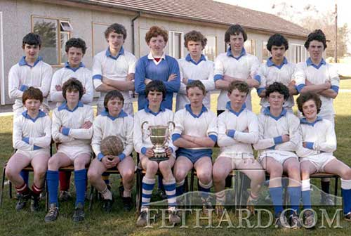 Fethard Patrician Brothers Munster U15 Football Champions 1982. Back L to R: Colm Kehoe, Dermot Hackett, Brian Burke, Liam O'Dwyer, Willie O'Meara, Michael O'Riordan, Roger Mehta, Chris Coen. Front L to R: Davy Hogan, John O'Connor, Paul Mullins, Paul Hayes (captain), Fergus McCormack, Rory Keane, Eddie Casey and Gerry Horan.