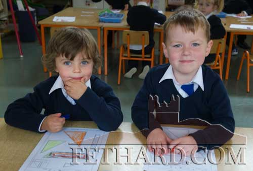Starting school at Fethard Holy Trinity National School were L to R: Gavin Tyrell and Billy Purcell.