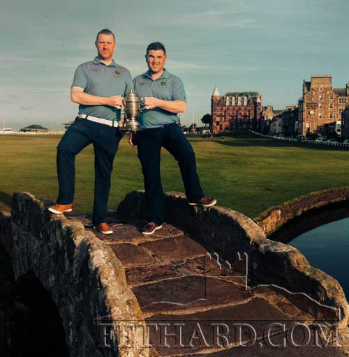 Representing Slievenamon Golf Club in the finals of the Holmpatrick Cup 2015 at St Andrews, are winners Shane Kenny (left) and Colin Allen, photographed with the Holmpatrick Cup on Swilcan Bridge at The Royal and Ancient Golf Club of St. Andrews in Scotland..