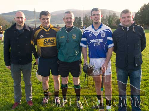Photographed before the throw-in at the benefit match in Cloneen between the current St. Patrick's winning team and a St. Patrick's combination team from winning teams in 2005 & 2010. L to R: Liam Brett (2010 captain), Tommy Griffin (2005 captain), Paddy Ivors (referee), Robbie McCormack (2014 captain) and Dermot Molloy (2013 captain).
