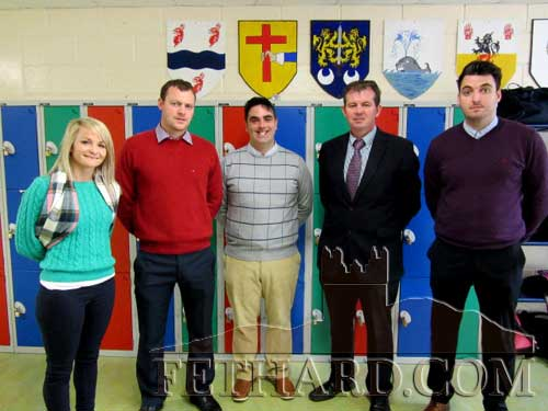 Staff members L to R: Ms Róisín Slattery, Mr Billy Walsh, Mr Ian O'Connor, Mr Michael O'Sullivan (Principal) and Mr Michael Hickey.