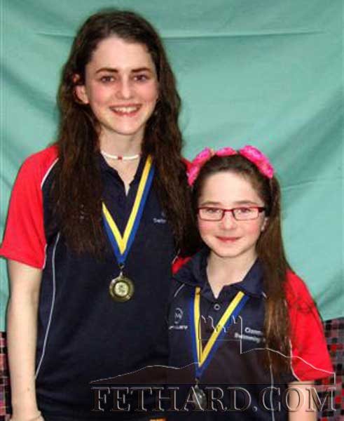 Abaigeal and Isobel Maher, Tinakelly, winners of gold and silver medals at the County Finals of the Community Games Swimming competitions.