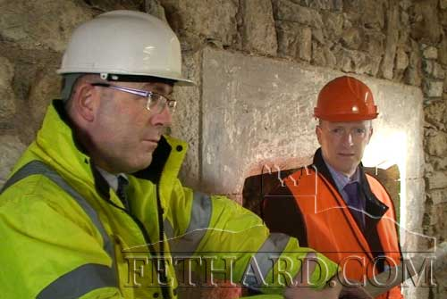 Project advisors Michael O'Boyle with Anthony Fitzgerald photographed during renovations at Fethard Tholsel (Town Hall).