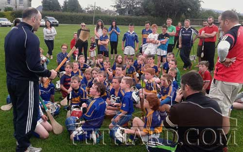 Fethard Under 8 Boys team photographed with Tipperary Hurling legend Eoin Kelly at their training session in Fethard last Thursday evening