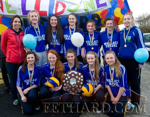 Fethard Patrician Presentation Secondary School Cadette Girls team photographed on their return to Fethard after winning the All-Ireland B Cadette Girls Volleyball Final played in Kilkenny against St. Mary's, Naas, on Thursday, January 29. Back L to R: Ms Helen Walsh (coach), Amye O'Donovan, Carly Tobin, Shauna O'Neill, Maggie Fitzgerald, Lucy Spillane, Sadhbh Horan. Front L to R: Ciara Hayes, Emma Cronin, Molly O'Meara, Kate Davey and Megan Coen.
