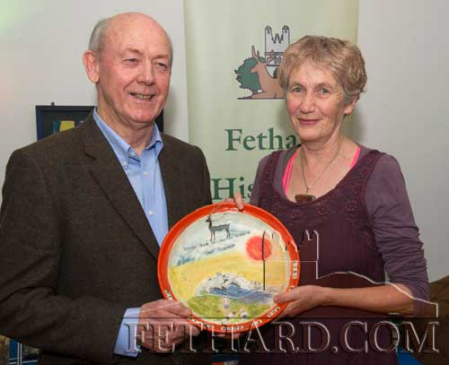 The 'Tipperariana Book of the Year 2015' was presented to Fethard author John Fogarty at a function in the Abymill Theatre Fethard, on Friday night last, January 29, for his highly acclaimed book 'Scenes from an Indian Summer'. Photographed above at the presentation of the prize are winning author John Fogarty and Dóirín Saurus, Crampscastle Pottery, who designed the especially commissioned piece for the winning book.
