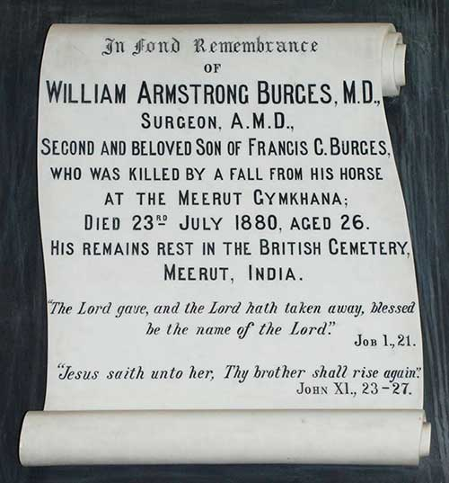 John Kenrick posted this photo of the Memorial tablet to William Armstrong Burges, M.D. erected in The Holy Trinity Church of Ireland, Fethard, which prompted the following replies: