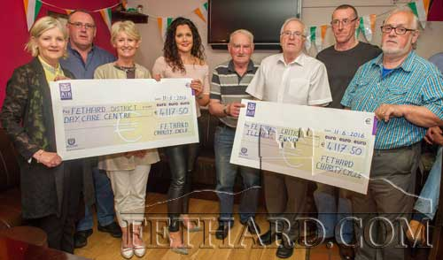 Members of the Fethard Charity Cycle group presenting the proceeds of their recent 50km charity cycle to Fethard & District Day Care Centre and Fethard Critical Illness Fund. The total raised was €8,235. L to R:  Geraldine McCarthy, Paul Shanahan, Fionnuala O'Sullivan, Aine Murphy, Jimmy O'Shea, Walty Moloney, Michael O'Gorman, and Miceal McCormack.