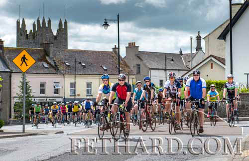 Cyclists leaving Fethard for their 50k Charity Run