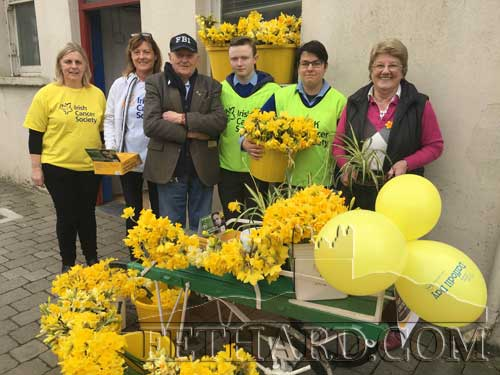 Daffodil Day outside Fethard Post Office on Fridqy, March 11. L to R: Finola Anglim, Ann Moloney, Johnny Sheehan, Liam Quigley, Flurin Helmrich and Anne Connolly.