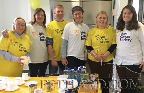 Helping out at the Coffee Morning in Fethard Town Hall in aid of the Irish Cancer Society are L to R: Grace Pollard, Ann Moloney, Ken Lee, Sinead Hyland, Finola Anglim and Bernadette Hyland