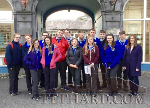 Fethard Patrician Presentation Fifth and Sixth Year art students, photographed with Nuala Ahearne (right), outside the National Craft Gallery, Kilkenny, where they visited the 'VASE, Function Reviewed', exhibition of ceramics by thirty Irish and international artists.