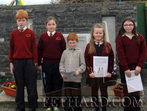 Children from Ballinure school who read the Proclamation at  the New Tipperary Rangers gathering last weekend. L to R: Laurence Walsh, Rebecca Cashin, Darragh O'Gorman, Loren  Corcoran and Chloe Hanly