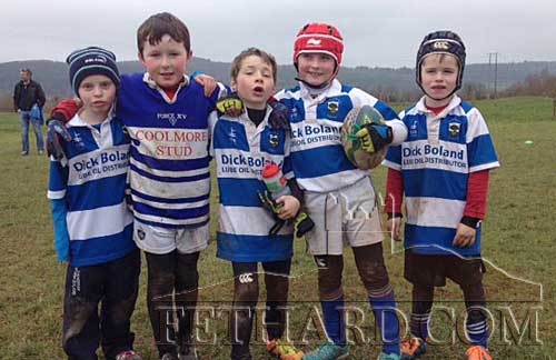 Fethard's 'Famous Five' rugby players who travelled to the Blitz in Carrick-on-Suir on Sunday last