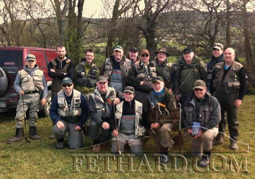 Fethard Anglers photographed before their annual competition on the Anner. Back L to R: Robert Hackett, John Fleming, Shane McDermott, Albert Adcock, Johnny Brannigan, Derek Cagney, Paddy Prendergast, Tony Quigley, Conor Cagney, Norman Regan. Front L to R: Noel Doherty, Tom Fogarty, Colm Hackett, John Lalor and Billy Reilly.