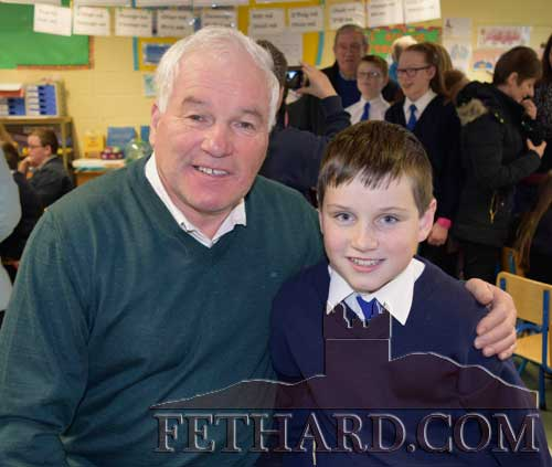 'Effin Eddie' Moroney photographed with his grandson Sean Moloney (5th Class) at the Grandparents' Day held at Holy Trinity National School, Fethard.
