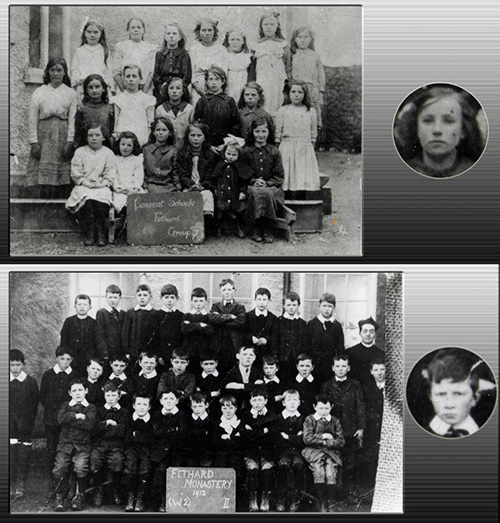 Mike Howard posted these photographs of his grandparents at school 1912 in Fethard. Michael Dwyer his gandfather and grandmother Kitty O'Dwyer. God love them both.