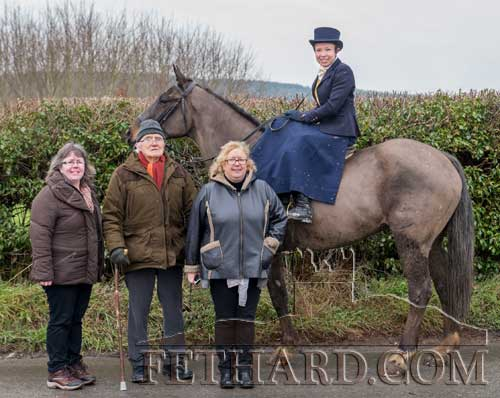 Life-long hunting supporter Tony Newport, photographed with his daughters, Edwina (left) and Margaret, and granddaughter, Mary Jane Kearney riding side-saddle.