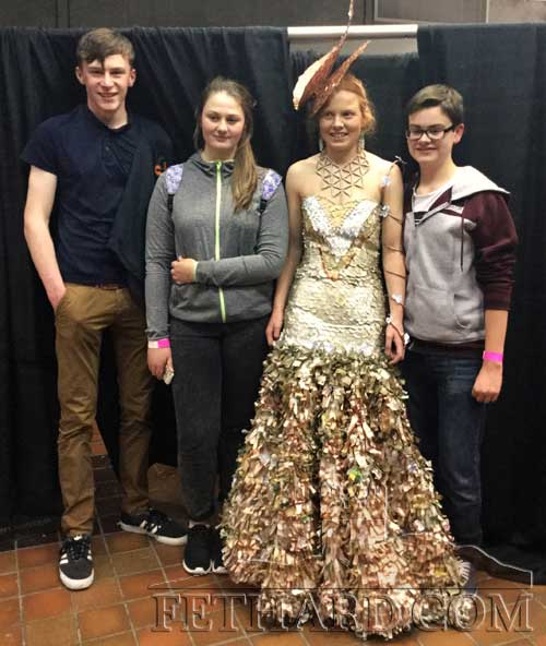 Fethard Patrician Presentation Secondary School Junk Kouture team who qualified for the national final in Dublin on April 14. L to R: Jack Spillane, Shauna O'Neill, Emma Cronin (model) and Mark Hayde.