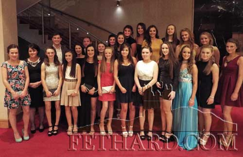 Fethard Ladies U16 A county winning team 2015 photographed at the club's first ever dinner dance with trainers Michael Hayes and Bernadette O'Meara and special guest Tipperary senior gurling star, Seamus Callanan, who presented the medals.