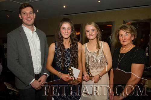 Photographed at the Fethard Ladies Football Club's first ever Dinner Dance are L to R: Tipperary senior hurling star, Seamus Callanan; Lucy Spillane, U14 All Ireland winner; Kate Davey, U18 All Ireland Winner; and special guest Biddy Ryan, chairperson Tipperary Ladies Football.