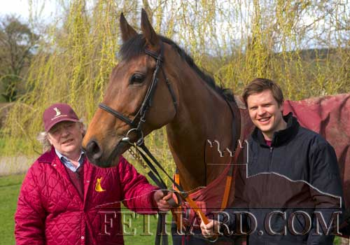 Fethard trainer, Michael 'Mouse' Morris photographed with his son Jamie, and his Irish Grand National winner 'Rogue Angel' at his racing stables at Everardsgrange, Fethard.