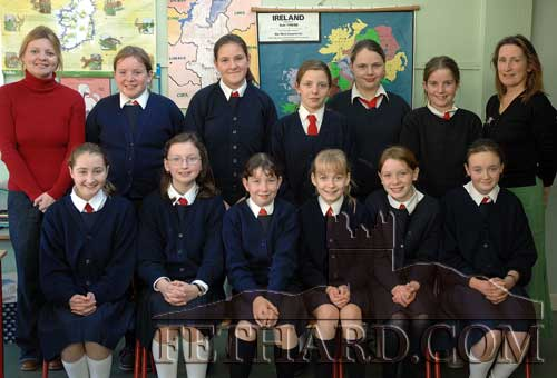 Sixth Class 2006 at Nano Nagle National School. Back L to R: Ann Marie Harty (classroom assistant), Deirdre Dwyer, Chloe Byrne, Katie Baker, Lucinda Carroll, Mary Ellen O'Reilly, Molly O'Dwyer, Rita Kenny (teacher).  Front L to R: Aoibhlinn Delany, Amy Pollard, Chloe Gleeson, Lucy Butler and Nicole Looby.
