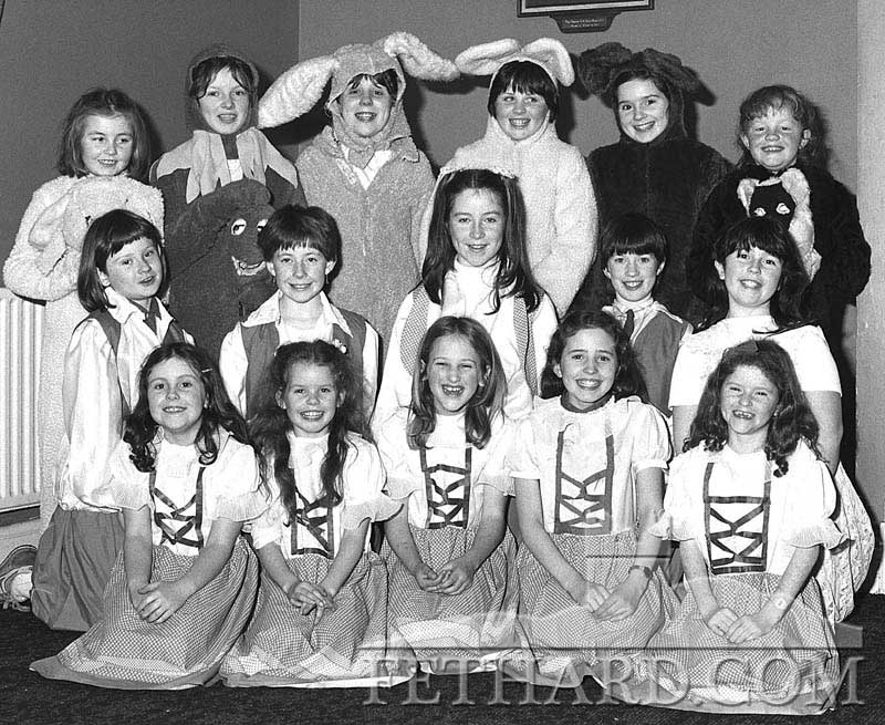 Childrens' chorus group from 'Old King Cole', January 1986. Back L to R: Jennifer Fogarty, Belinda McCormack, Elizabeth Burke, Nicola O'Riordan, Marie Cloonan, Laura Doyle. Middle L to R: Niamh Ryan, Edel Fogarty, Lorraine Treacy, Patricia Purcell, Mia Treacy. Front L to R: Lisa McCormack, Vicki Roche, Patricia Morrissey, Áine Doocey and Olivia Phelan.