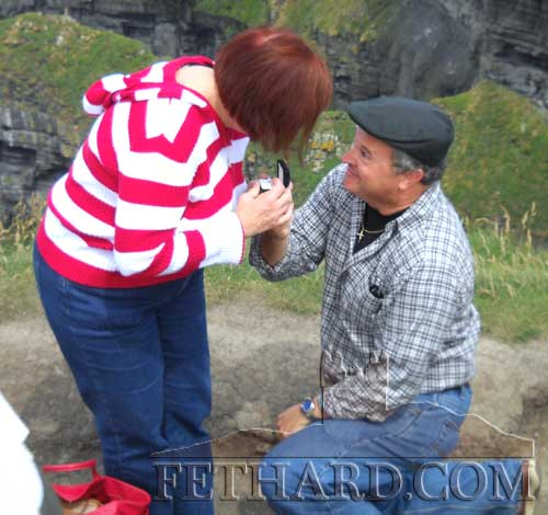 Mike Colgan proposing to Kate Goings at the Cliffs of Moher on their first visit to Ireland and Fethard in 2009. The happy couple are making a retuirn visit to Fethard this coming weekend.