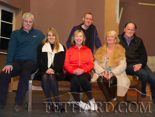 Members of Fethard Players taking a break from rehearsal of their current production, a comedy 'Never Too Late' which will be staged in the Abymill Theatre from Monday, March 14, to Saturday, March 19. L to R: Tommy O'Brien, NIamh Hayes, Ann Walsh, Keith MacAdhamh, MArian Gilpin and Liam O'Connor. Also in the cast are Richard Hayes, Colm McGrath and Tom Gilpin.