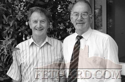 The late Tom Shine (right) photographed with his brother Pat in Fethard in 1998. Pat, home from England was the main organiser of the Fethard/London Emigrants' Reunion during the 1960s and 1970s.