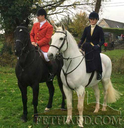 Tom Freyne MFH photographed with his wife Jacqui, riding side-saddle.