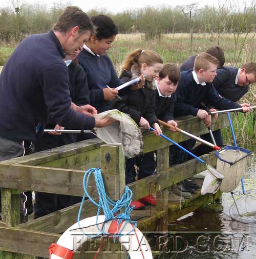 Holy Trinity National School pupils 'pond dipping' on their school outing to Cabragh Wetlands