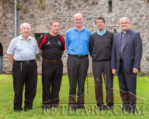 Photographed at Fethard Augustinian Abbey on the occasion of a visit from the Augustinian Prior General, Fr Allefandro Moral, are L to R: Fr. Paul O'Brien, Fr. Gerry Horan, Fr. Iggy O'Donovan (Prior), Fr Allefandro Moral (Prior General) and Fr. John Hennebry (Irish Provincial).