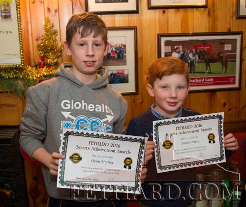 L to R; Oisín Shelley and Daniel Barry, two of the younger nominees at the Butler's Bar Sports Achievement Award presentation for December.