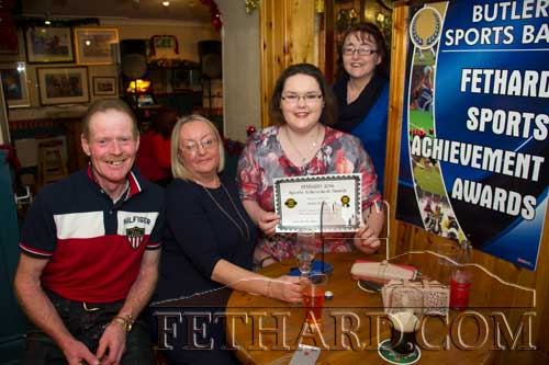 Anita Pollard, a nominee for the December photographed with family members at the Butler's Bar Sports Achievement Award presentation for December. L to R: Dick O'Brien, Grace Pollard, Anita Pollard and Olwyn O'Brien.