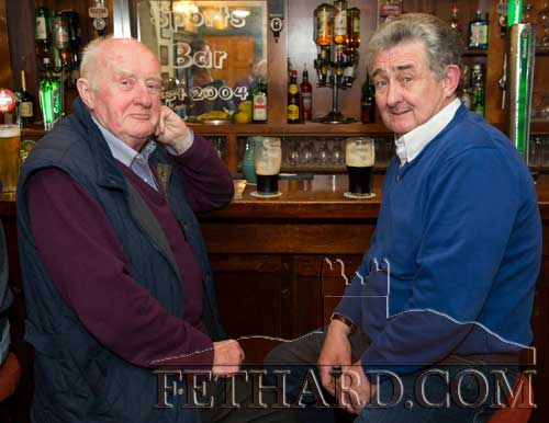 Photographed at the Butler's Bar Sports Achievement Award presentation for March last weekend are L to R: Bill O'Sullivan and Ted Cummins.
