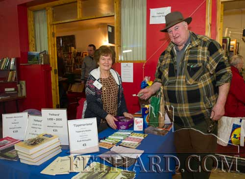 Marie Murphy helping at the Fethard Historical Society's information stall and speaking with visitor Finbarr Spain from Birr, Co. Offaly.
